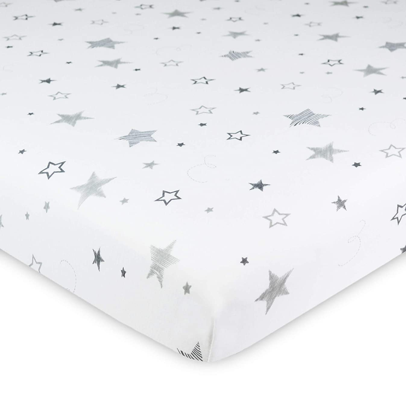 American Baby Company Printed 100% Natural Cotton Jersey Knit 18 x 36 Cradle Sheet - Fitted, Super Stars, Soft Breathable, for Boys & Girls