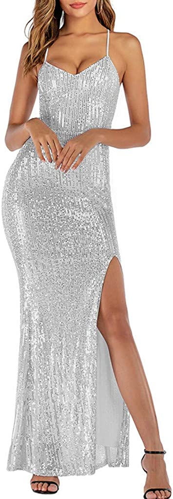 ZSBAYU Women's Sequins Prom Dress Glitter Sequin Poncho High Slit Backless Mermaid Evening Gown Party Cocktail Pencil Dresses