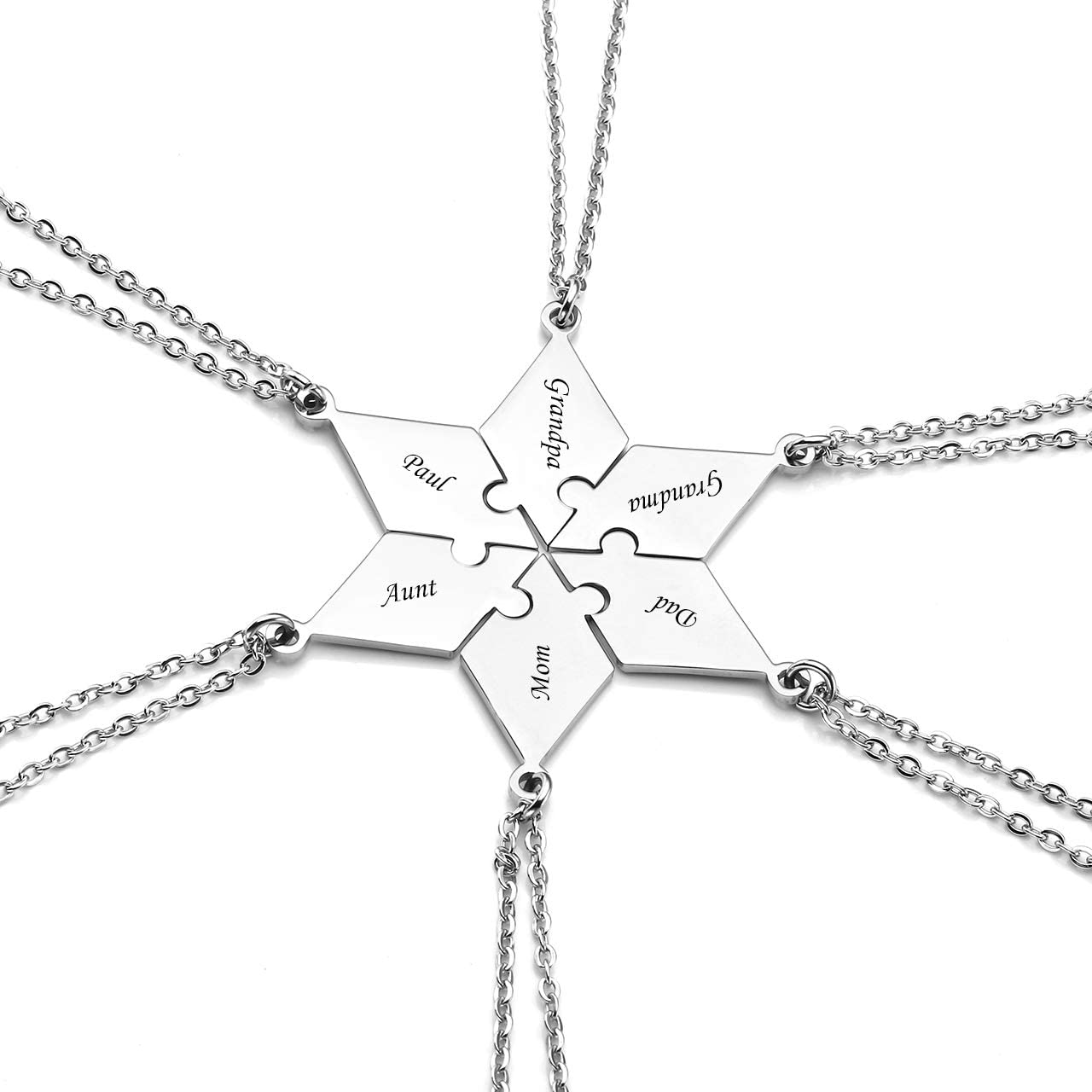 Personalized Star Hexagram Star Puzzle BFF Necklaces Engraving Puzzles Matching Pendant Jewelry for 6 Friends Families BFF Friendship Brothers Sisters Custom Gifts