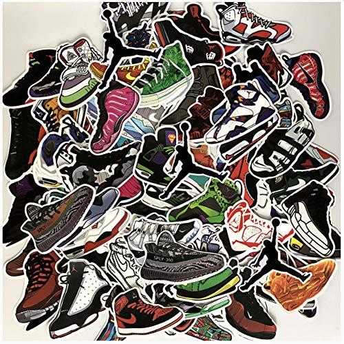 ZAQ 100 Piezas De Pegatinas De Trapecio AJ Jordan Zapatillas De Baloncesto Pegatinas De Equipaje Marea Marca Computadora Portátil Decoración De La Pared Pegatinas Impermeables
