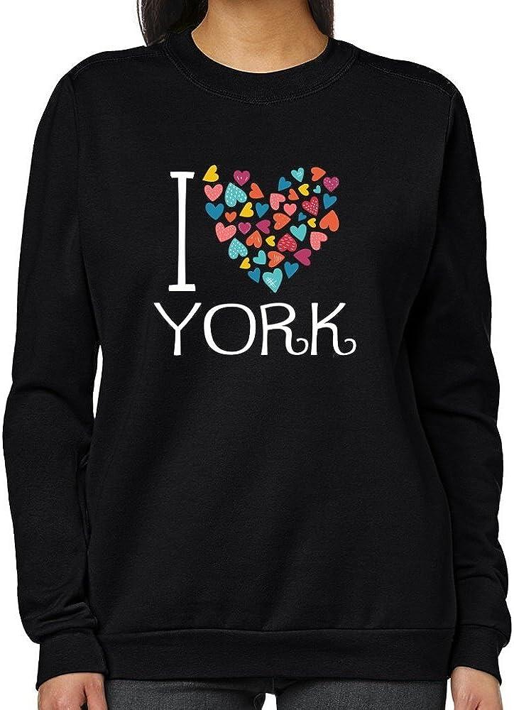 Teeburon Denver Mall I Love York Women Sweatshirt Colorful discount Hearts