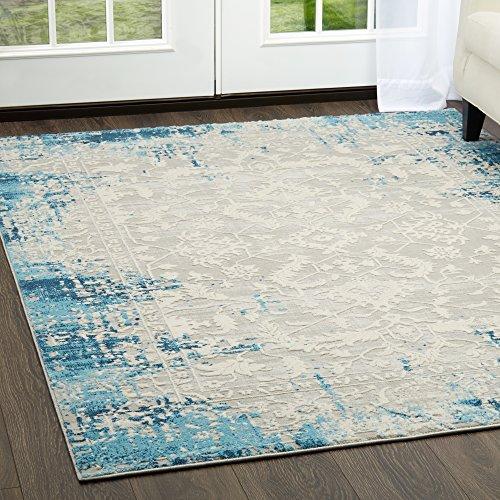 Home Dynamix 13729-309 Palmyra Piet Area Rug, 3'3'x4'6', Blue/Light Gray