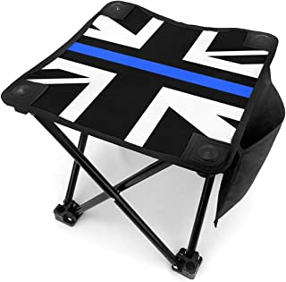 Jinitami Camping Stool Folding Thin Blue Line UK Flag Portable Chair Camping Hunting Fishing Travel with Carry Bag