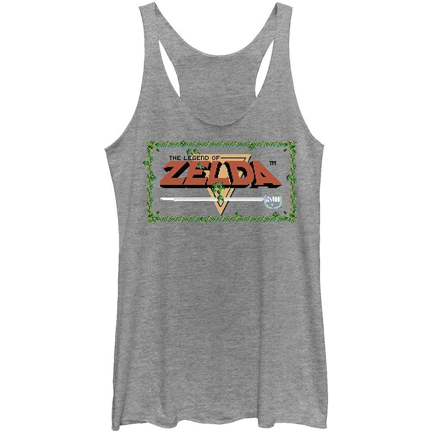 Nintendo Women's Pixel Zelda - Heather - Racerback Womens Tank Grey