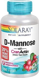 Solaray D-Mannose w/CranActin Cranberry Extract 1000mg w/VIT C | Healthy Urinary Tract Support | 75 Serv | 150 VegCaps