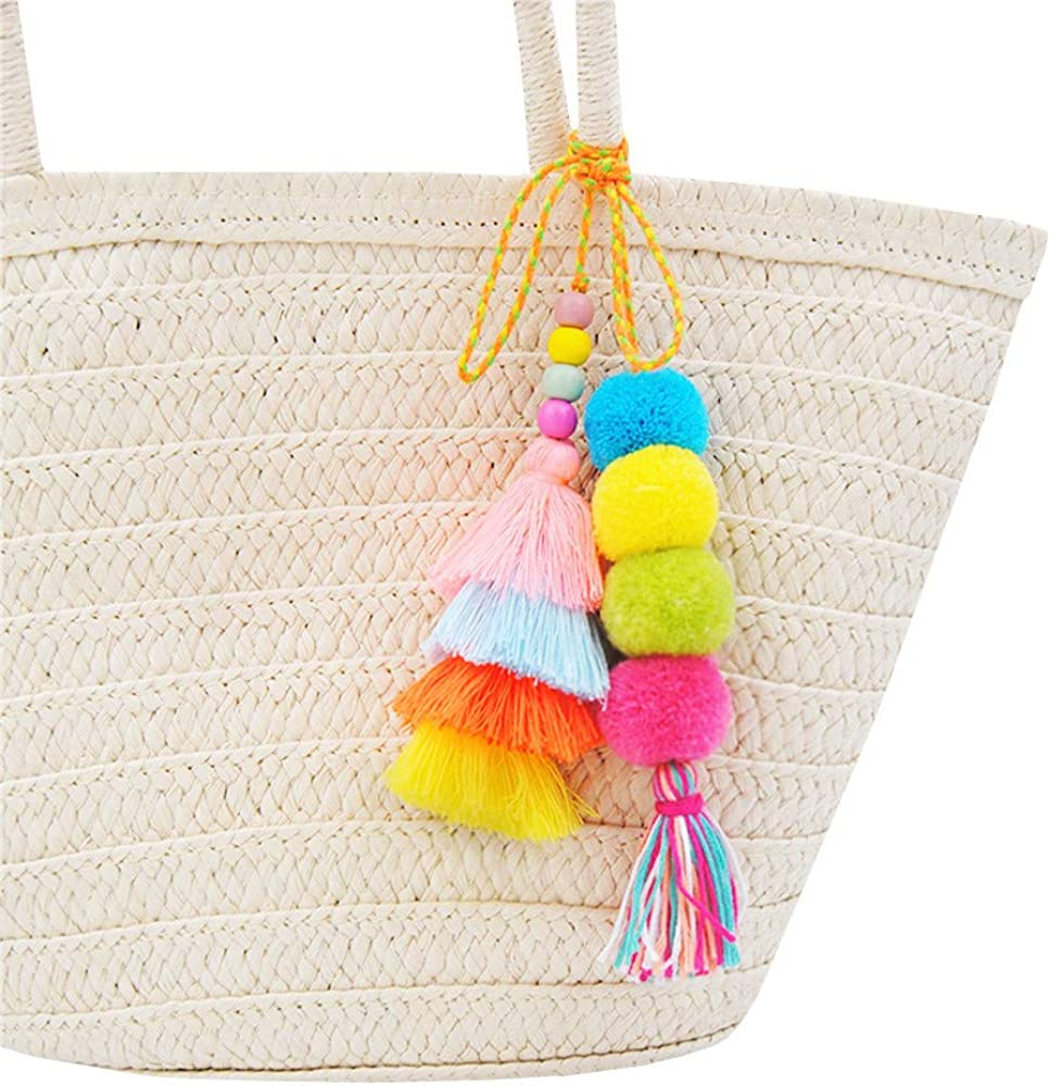 Ranking TOP12 QTMY Cute Pom Tassel Boho Keyring Charm Pendant Keychain Bag Elegant