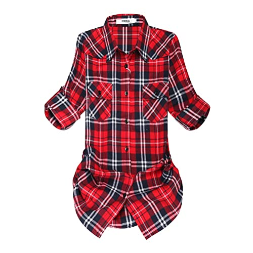 e7f299d4bde2b OCHENTA Women's Mid-Long Style Roll-Up Sleeve Plaid Flannel Shirt