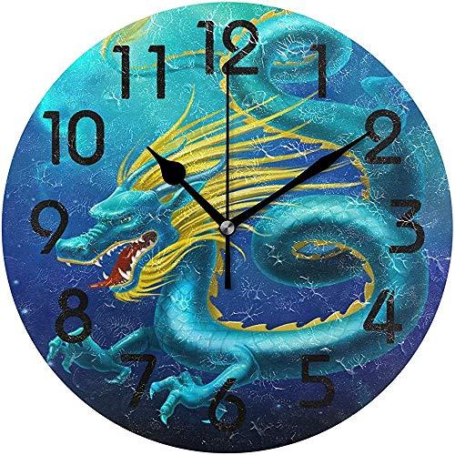 Cy-ril Cool réaliste Roaring Dragon Print Horloge Murale Ronde fonctionnant sur Batterie Calme Horloge de Bureau pour la Maison, Bureau, école