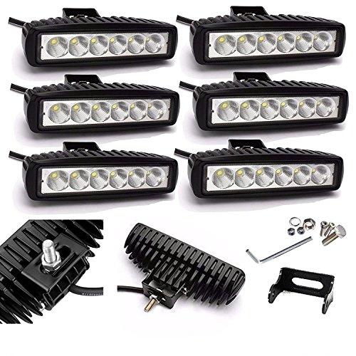 6 x luz antiniebla de haz puntual de alta potencia DRL 12V 24V LED 18W Lámpara de trabajo