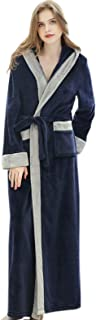 Elonglin Bathrobe Hooded, Women Men Flannel Fleece Full Length Dressing Gowns Thickened Housecoat Sleepwear Large Size Nig...