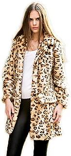 Aukmla 女士人造皮草外套豹纹中长翻领夹克带口袋