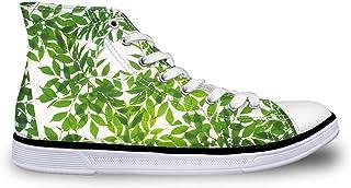 Flowerwalk dames schoenen High Top Veters Canvas Sneaker ademende turnschoenen groen bladeren loopschoenen sportschoenen m...