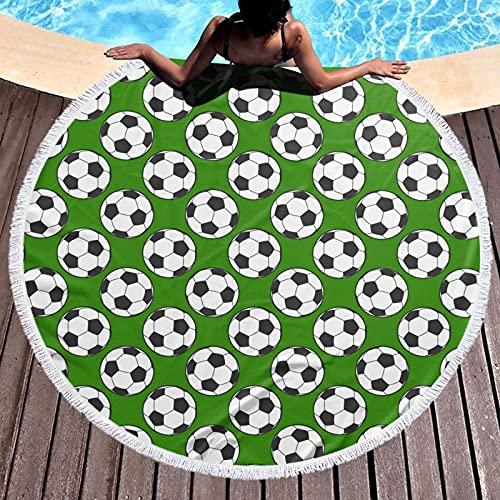 VVSADEB Toalla de playa de fútbol, toalla de playa redonda con borlas, manta de playa a prueba de arena, toalla redonda de playa de gran tamaño de 59 pulgadas