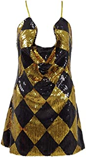 Womens HQ Harley Dress Cosplay Costume Gold