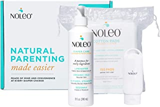 BABYBOX NOLEO 1x 8Oz Bottle All in One Organic Diaper Rash Preventive Cream Cleanser & Moisturizer + 1 x Bag of 150 Disposable Organic Cotton Pads + 1 x 2Oz Travel Bottle