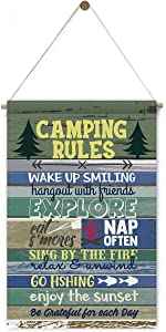 Camping Rules Canvas Banner Hanging Wall Decor Camp Saying Banner Flag Rustic Farmhouse Camper Sign Home Decoration Gifts 12