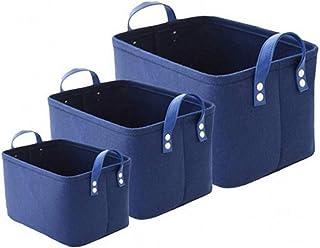 Kit de bac de rangement pliable, panier de rangement en feutre (15,3 × 11,4 × 9,8 po), boîte de rangement avec poignées po...