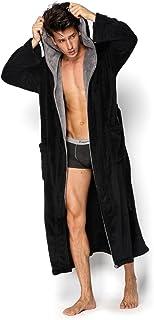 818ac0c41d Hooded Herringbone Men s Black Soft Spa Warm Bathrobe Grey Kimono Shawl  Collar