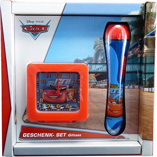 Cars Geschenk Set Disney Taschenlampe T 921 und Wecker QU Cars 3