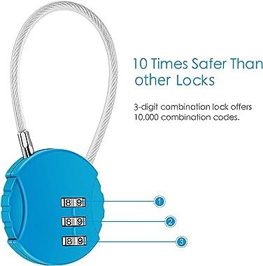CROMLL 2 Pack Combination Lock 3 Digit Outdoor Waterproof Padlock for School Gym Locker, Sports Locker, Fence, Toolbox, Gate,