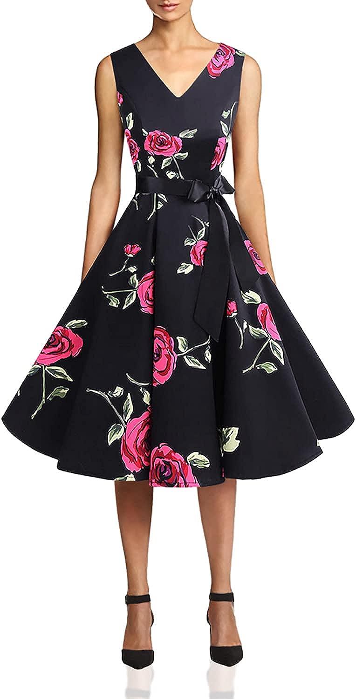 Bridesmay Women's Vintage Audrey Hepburn V-Neck Retro Rockabilly Swing Cocktail Party Dress
