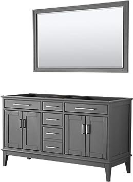Margate 60 Inch Double Bathroom Vanity In Dark Gray No Countertop No Sink And 56 Inch Mirror Amazon Com