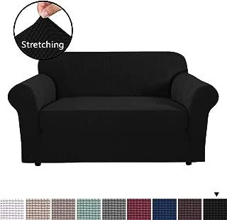 H.VERSAILTEX 1 Piece Sofa Slipcovers Stretch Furniture Cover Lycra Spandex Jacquard Fabric Super Soft, Stretching Skid Resistant Sofa Protector - Loveseat (2 Seater) - Black