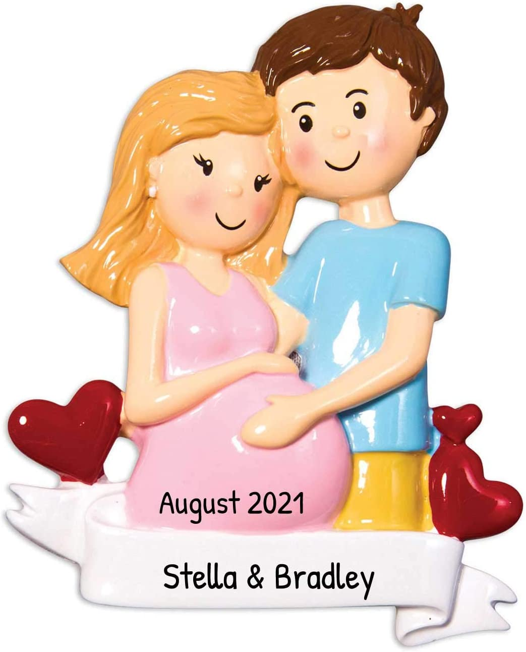 Amazon Com Personalized Expecting Couple Christmas Tree Ornament 2020 Pregnant Mom In Pink Dad Bump Hearts Baby Shower New Parent Holiday Blonde Brunette Gift Year Free Customization Home Kitchen