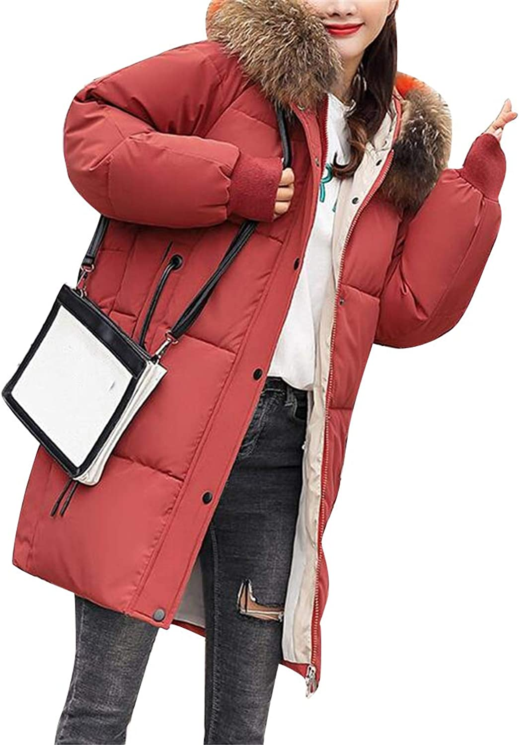 Jofemuho Womens Thicken Plus Size Mid Length Relaxed Faux Fur Hoodie Quilted Jacket Parka Coat Overcoat