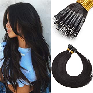 Silk-co Nano Ring Hair Extensions Human Hair 1g/s 50g/pack 100% Real Brazilian Natural Human Hair Nano Tip Extensions [20inch #1B Natural Black]