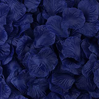 Rebecca online Silk Rose Petals Artificial Flower Wedding Party Vase Decor Bridal Shower Favor Centerpieces Confetti (Dark Blue-17)