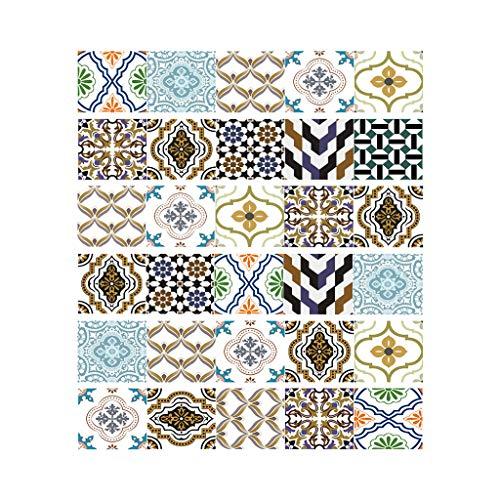 Njuyd - Lote de 6 pegatinas para suelo de baldosas, de PVC, para decoración de baño, cocina, impermeable, para papel pintado