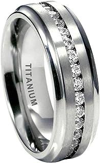 iTungsten 7mm Titanium Rings for Men Women Eternity Wedding Engagement Bands White/Blue Cubic Zirconia Inlay Beveled Edges...