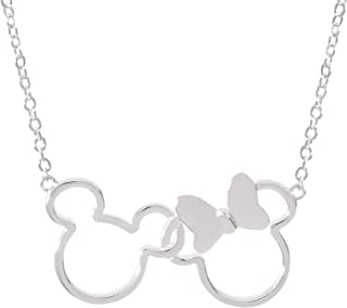 Disney Mickey and Minnie Mouse Jewelry for Women, Silver Plated Interlocking Mickey and Minnie Mouse Pendant Necklace;