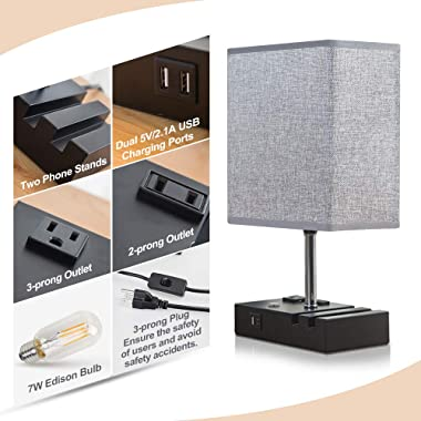 Lifeholder Touch Lamp with 2 Phone Stands,Dimmable USB Lamp Include 2 Warm Edison Bulbs, Grey Table Lamp Built in 2 USB Ports