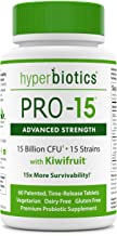 PRO-15 Advanced Strength Probiotics: 3x the CFU Count With Kiwi Extract—15 Strains—60 Once Daily Tablets—15x More Survivability Than Veggie Capsules With Patented Delivery Technology