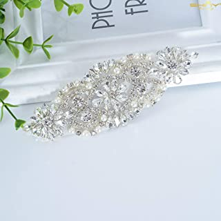 ShiDianYi Rhinestone and Pearl Beaded Applique for Bridal sash, Wedding Headband, Garters (Silver)