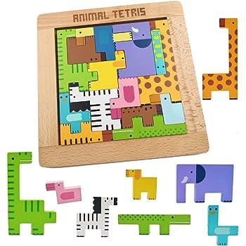 木玩社のアニマルテトリス 動物積み木 知育玩具 木製テトリス 動物パズルセット 組み立て 木製おもちゃゼント 知育玩具 早期開発 教育おもちゃ ギフト誕生日 贈り物 クリスマス プレゼント 出産祝い