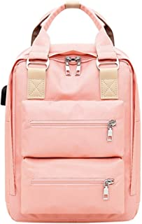 JpOTSUT Women Laptop Backpack Stylish Computer Backpack School Backpack Casual Daypack Laptop Bag Water Repellent Nylon Business Bag The North face Backpack (Color : Pink)