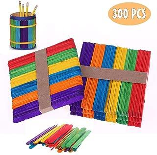 LIZHIGE 300 pcs Palos de madera natural Palos de Helado de Madera Natural Material para DIY Bricolaje Artesanía juguetes creativos hechos a mano para niños