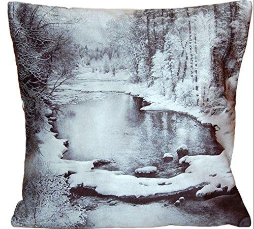 weiche KISSENHÜLLE 40x40 cm Kurzvelours Winterland grau schwarz Polyester Dekokissen Kissenbezug TREND FOTOprint Kissen Weihnachten Winter (Winterland Grautöne Schwarz)
