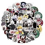NAVK Pegatinas de anime Tokyo Ghoul, 50 pegatinas de vinilo para portátil, monopatín, coche, botella de agua, impermeable, para adultos, adolescentes, niñas y niños