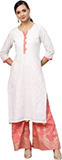 White and Gold Printed Straight Kurta Set