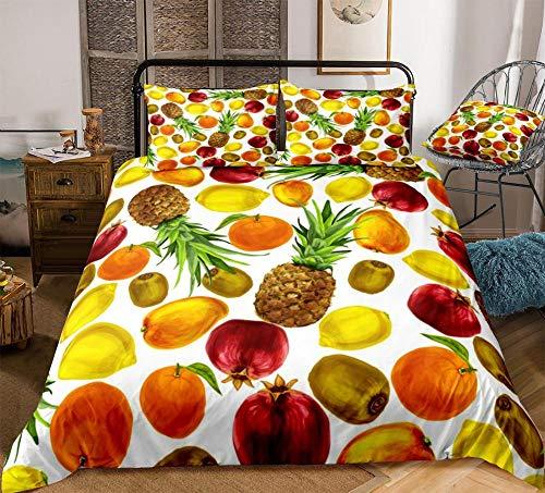 Prinbag Tropical Fruits Bettwäsche Set Bunte Bettbezug Set Orange Ananas Zitrone Granatapfel Home Textile für Kinder Erwachsene 220x240cm