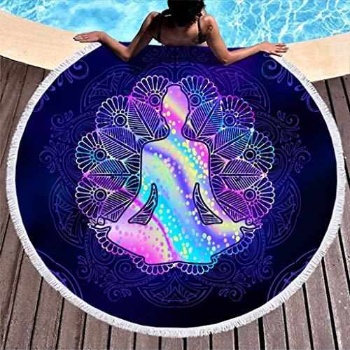 NeiBangM Ronde strandhanddoeken, yoga, lotus, licht, tafelkleed, strandlaken, badhanddoek