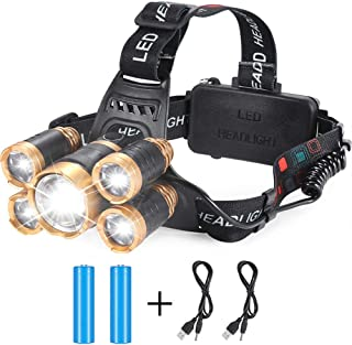Rechargeable Headlamp, 12000 Lumens 5 LED 4 Mode USB Rechargeable Headlights with 2 Batteries Waterproof LED Head Light Adjustable Focus Rechargeable Headlamps Camping Fishing Running Outdoor