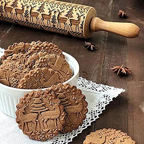 Kerstmis deegrol gegraveerd Houtsnijwerk In reliëf deegrol Keuken Tool 35CM Embossing Bakken Koekjes Biscuit Fondant