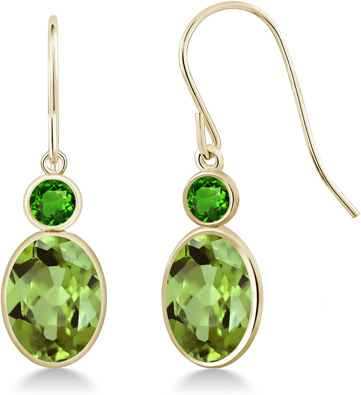 2.94 Ct Oval Green Peridot Green Simulated Tsavorite 14K Yellow gold Earrings