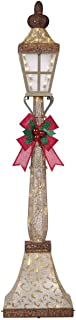 Holiday 6' LED Street Lamp Post with Bow, Glittery Gold