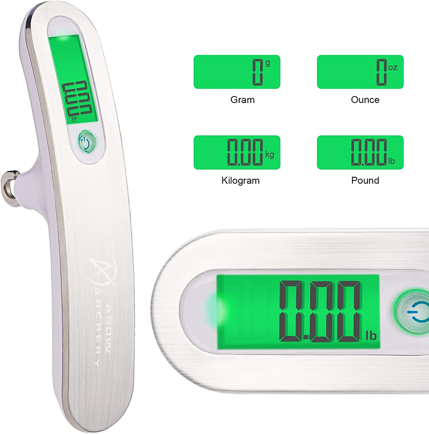 ASDW Archery Bow Scale Digital Hanging Handheld Scale for Compound Bow Recurve Bow Tune Peak Weight Hold Weight Scale 110lb 50KG LCD Display Screen g/oz/kg/lb : Sports & Outdoors